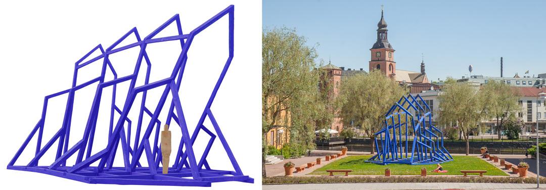 Den blåfärgade katedralen har hittills stått på 11 olika platser runt om i Sverige. Bilden till höger är tagen i Falun 2009.